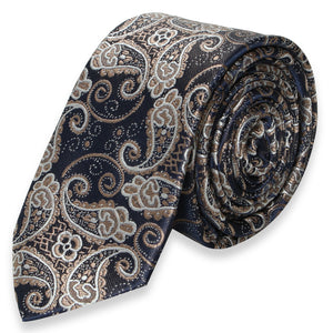 DARK GRAY WITH GOLD PAISLEY SKINNY TIE