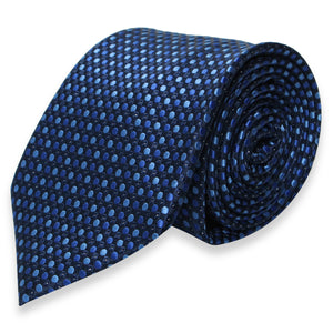 BLACK REGULAR TIE WITH BLUE POLKADOT