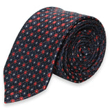 MAROON SKINNY TIE WITH GRAY FLOWER PATTERN