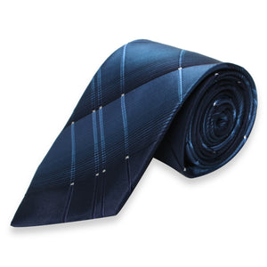 DARK BLUE STRIPES WITH WHITE DOT REGULAR TIE