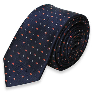 NAVY BLUE SKINNY TIE WITH MINI PAISLEY