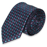 BLACK SKINNY TIE WITH PURPLE FLOWER