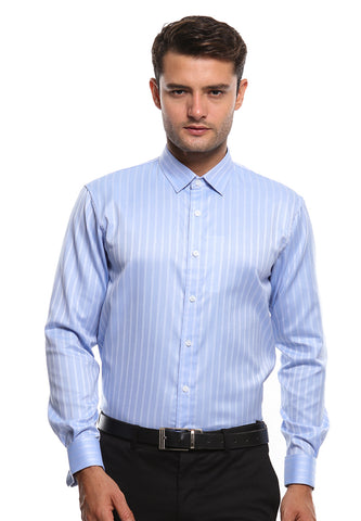 FRENCH CUFF BLUE STRIPES SHIRT