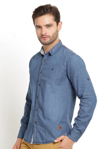 CASUAL SHIRT LONG DARK BLUE