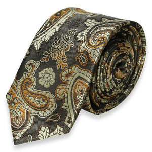 DARK GRAY WITH BROWN PAISLEY SKINNY TIE