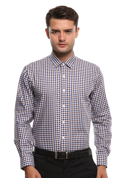 DOUBLE BARREL BLUE WITH BROWN CHECKERED SHIRT