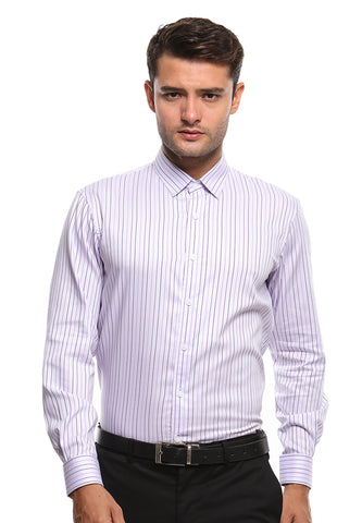FRENCH CUFF PURPLE STRIPES SHIRT