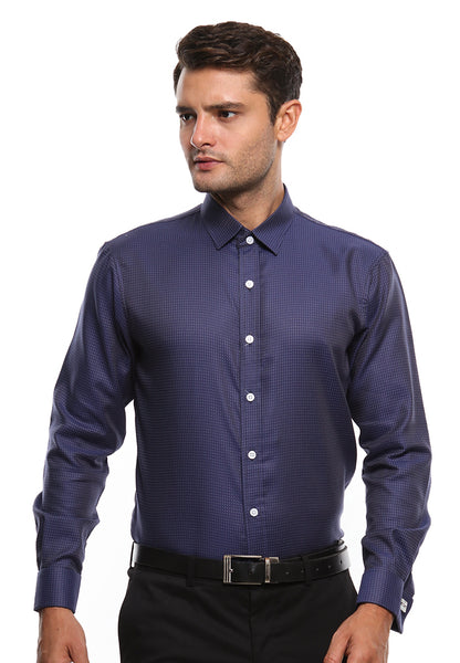 FRENCH CUFF NAVY BLUE SHIRT