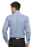 FRENCH CUFF DOUBLE DARK BLUE STRIPES SHIRT