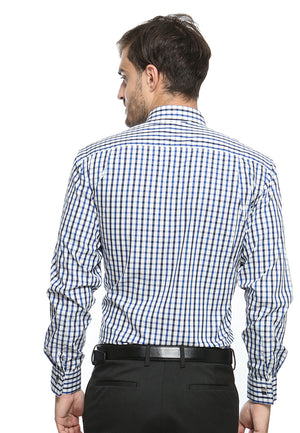 FRENCH CUFF BLUE CHECKERED SHIRT