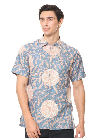 SHORT SLEEVE BLUE CREAM PIRING LAMPADAN BATIK SHIRT