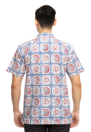 SHORT SLEEVE COTTON BATIK WITH GEOMETRICAL RED CHICKEN PATTERN