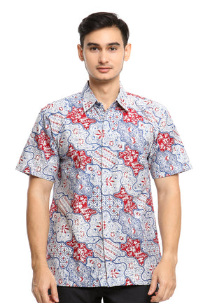 SHORT SLEEVE COTTON BATIK WITH PARANG KAWUNG FLOWER PATTERN