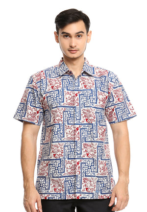 SHORT SLEEVE COTTON BATIK WITH SMALL FLOWER AND MERAK PATTERN