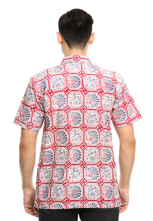 SHORT SLEEVE COTTON BATIK WITH GEOMETRICAL BLUE CHICKEN PATTERN