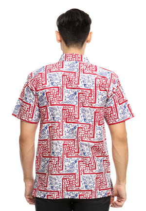SHORT SLEEVE COTTON BATIK WITH SMALL FLOWER AND BLUE MERAK PATTERN