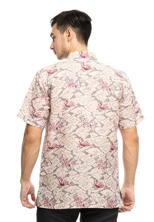 SHORT SLEEVE DOBY BATIK WITH MEGA MENDUNG AND RED BIRD PATTERN