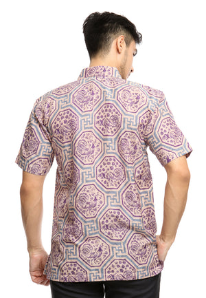 SHORT SLEEVE DOBY BATIK WITH GEOMETRICAL PURPLE CHICKEN PATTERN