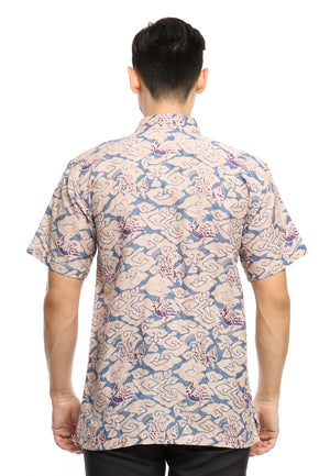 SHORT SLEEVE DOBY BATIK WITH MEGA MENDUNG AND PURPLE BIRD PATTERN
