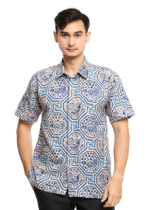 SHORT SLEEVE DOBY BATIK WITH GEOMETRICAL BLUE CHICKEN PATTERN