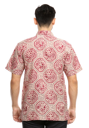 SHORT SLEEVE DOBY BATIK WITH GEOMETRICAL RED CHICKEN PATTERN