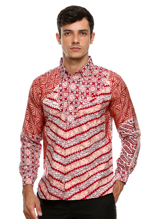BATIK LONG SLEEVE PULAUAN RED