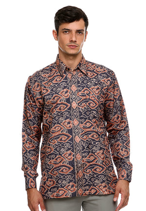 BATIK LONG SLEEVE MEGAMENDUNG BLUE