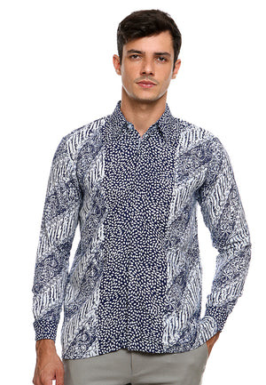 BATIK LONG SLEEVE PARANG NAVY