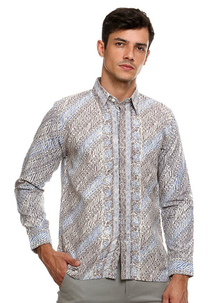 BATIK LONG SLEEVE PARANG BLUE GREY