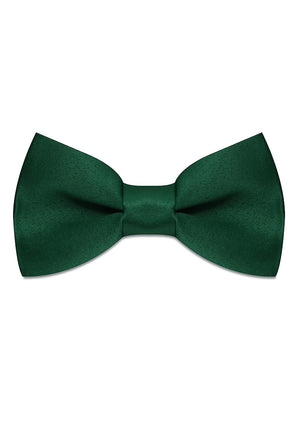 DARK GREEN SATIN SILK BOWTIE