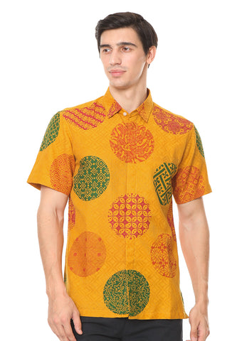SHORT SLEEVE YELLOW PIRING LAMPADAN BATIK SHIRT