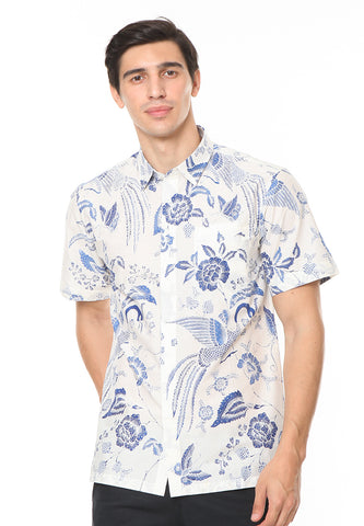 SHORT SLEEVE COTTON BATIK WITH BLUE MERAK PATTERN