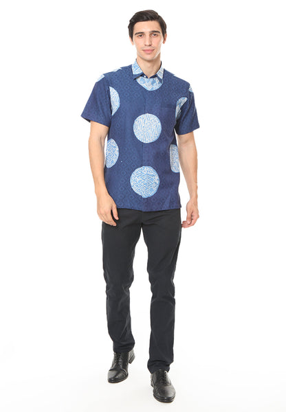 SHORT SLEEVE LIGHT BLUE PIRING LAMPADAN BATIK SHIRT