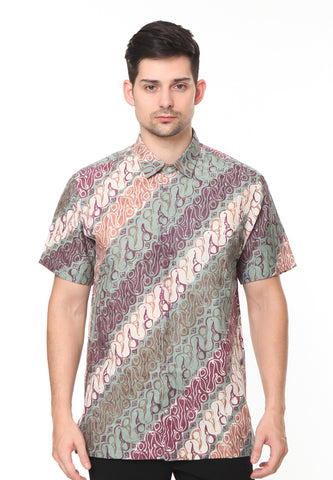 SHORT SLEEVE GREEN WITH LIGHT CREAM PARANG BATIK SHIRT