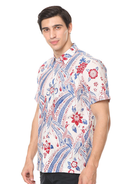 SHORT SLEEVE COTTON BATIK WITH RED AND BLUE BIRD PATTERN