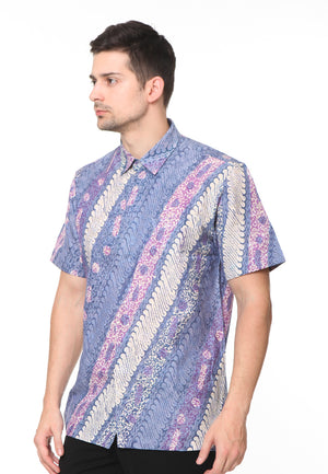 SHORT SLEEVE BLUE WITH PURPLE PARANG BATIK SHIRT