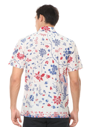 SHORT SLEEVE COTTON BATIK WITH RED AND BLUE FLOWER PATTERN