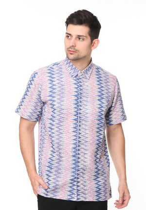SHORT SLEEVE PURPLE WITH WHITE TENUN PATTERN BATIK SHIRT