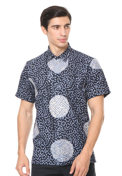SHORT SLEEVE DARK BLUE PIRING LAMPADAN BATIK SHIRT