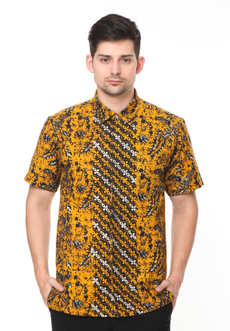 SHORT SLEEVE DOBY YELLOW KAWUNG BATIK SHIRT