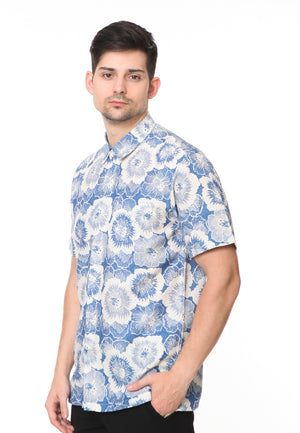 SHORT SLEEVE DOBY BLUE FLOWER BATIK CAP
