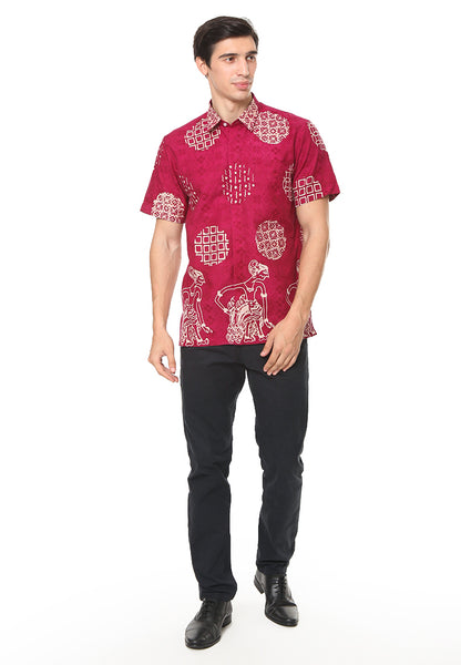 SHORT SLEEVE RED PIRING LAMPADAN BATIK SHIRT