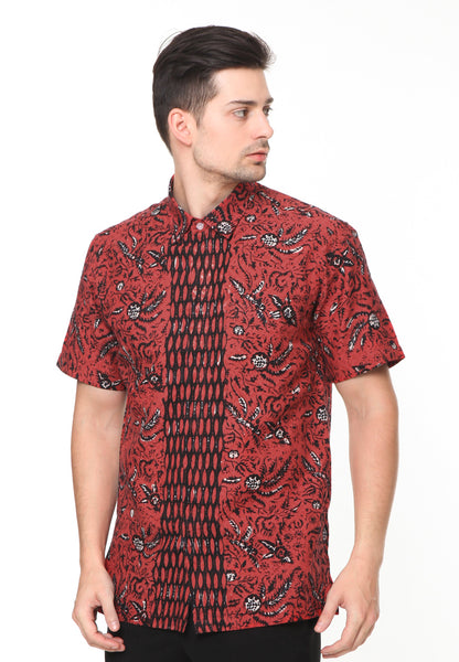 SHORT SLEEVE DOBY RED LEAVES BATIK SHIRT