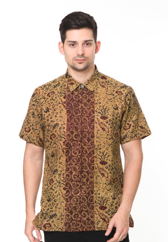 SHORT SLEEVE DOBY BROWN FLOWER BATIK SHIRT