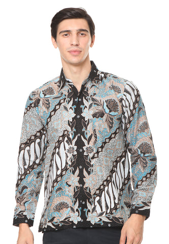 LONG SLEEVE BLUE PARANG DOBY BATIK SHIRT