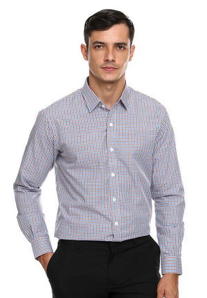 DOUBLE BARREL BLUE BROWN CHECKERED SHIRT