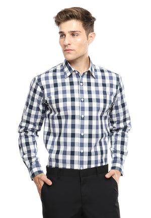 DOUBLE BARREL BLUE CHECKERED SHIRT