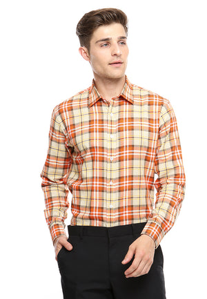 DOUBLE BARREL ORANGE CHECKERED SHIRT