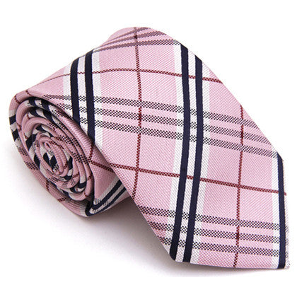 CHECKERED REGULAR TIE PINK WHITE CHECK