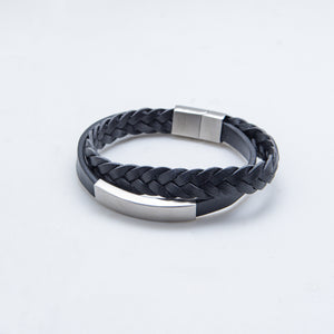 BLACK SS LEATHER BRACELET